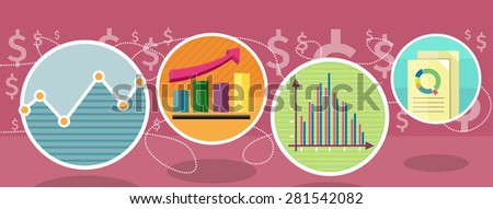 Different types of charts that show changes of share prices. Round color icons. Design concept. For web site construction, mobile applications, banners, corporate brochures, book covers, layouts etc. - stock vector