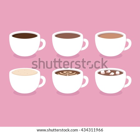 Different types of coffee: espresso, cappuccino, latte, hot chocolate with marshmallows. White coffee cups, vector illustration. Flat icon set. - stock vector