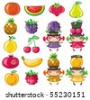 Different types of delicious fruits and cute fruity girls - stock vector
