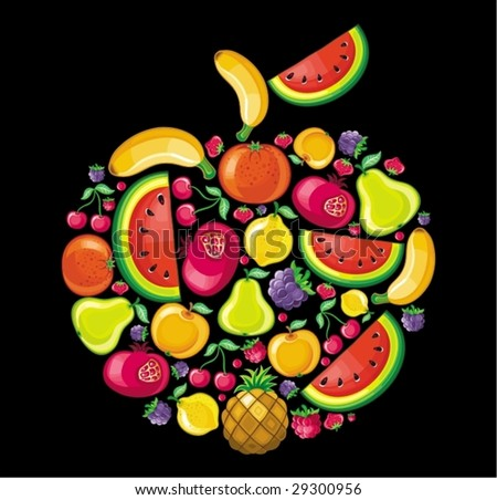 Different types of delicious fruits combined in a shape of an apple.  To see similar, please VISIT MY PORTFOLIO - stock vector