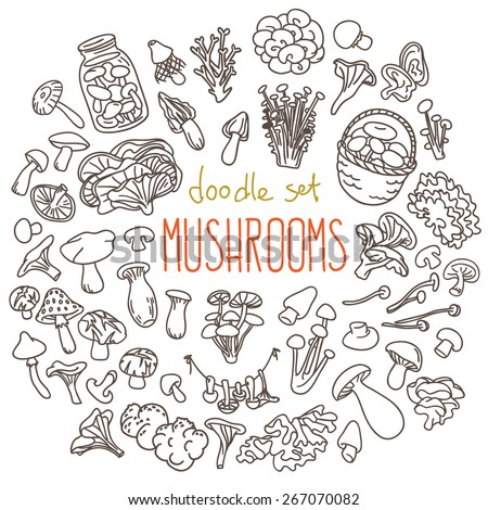 Different types of edible and non edible mushrooms. Set of doodles, hand drawn rough simple sketches. Vector icons isolated on white background. - stock vector