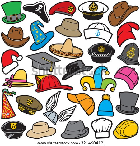 different types of hat pattern (sailor cap, military beret, firefighter helmet, sombrero, cowboy hat, baseball cap, military hat, cowboy hat, santa claus hat, wizard hat, chef hat) - stock vector
