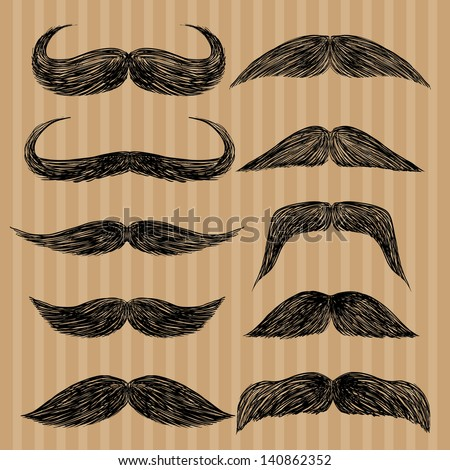 Different types of mustaches. Retro style. - stock vector