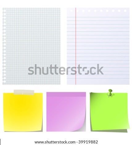 Different types of note papers  isolated on white background. - stock vector