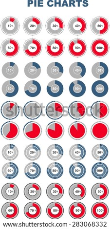 Different types of pie chart. Vector illustration of business infographics.