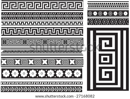 Different types of seamless Greek patterns - stock vector