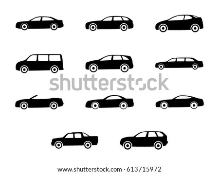 different types of the cars automobile set isolated on white background variants of automobile