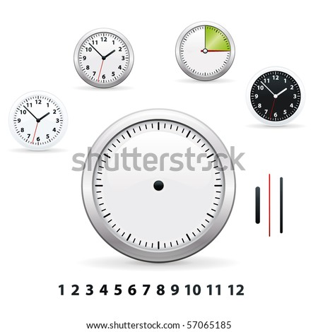 Different types of vector clocks - stock vector