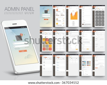Different UI, UX, GUI screens and flat web icons for e-commerce mobile apps, e-commerce responsive website including Login, Statics, Image Gallery, Post, Choose Colour, and Account Setting  Screens. - stock vector
