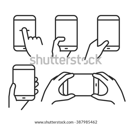 Different variations of holding a modern smartphone. Lineart pictograms collection - stock vector