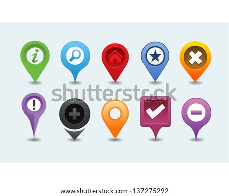 Different Vector Map Pins Pointer - stock vector