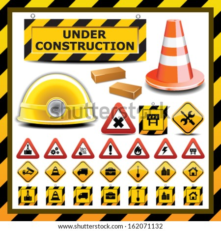 Different vector objects and elements related to construction - stock vector