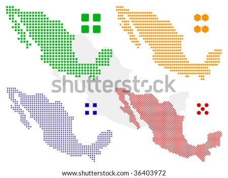 different vector pixel map of mexico. - stock vector