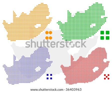 different vector pixel map of South Africa - stock vector