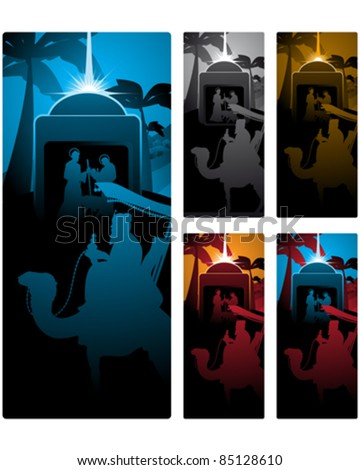 Different versions of a vertical banner with the three wise men. - stock vector