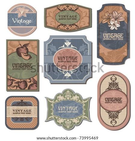 different vintage labels vector illustration - stock vector