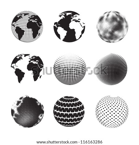 different ways to represent the earth over white background - stock vector