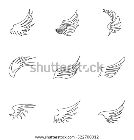 Different wings icons set. Outline illustration of 9 different wings vector icons for web