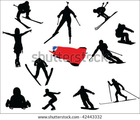 different winter sports silhouettes - vector - stock vector