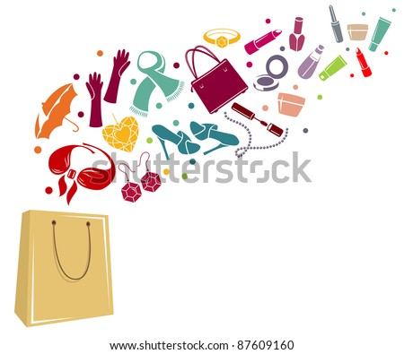 Different woman's things in bag. Coloured version. - stock vector