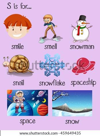 Different Words Begin Letter S Illustration Stock