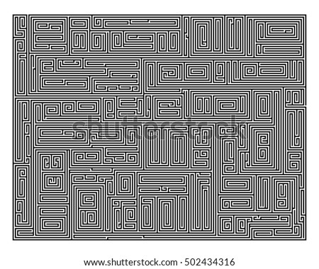 Difficult Vector Black and White Maze for Children