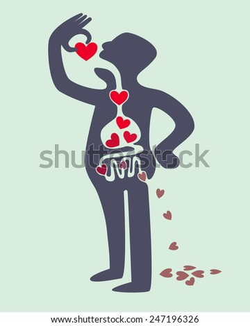 Digestion diagram of man eating love red heart - stock vector