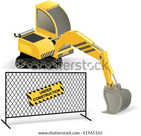 "Digger and fencing mesh with ""Under construction"" sign, isolated objects on white background. Vector illustration"