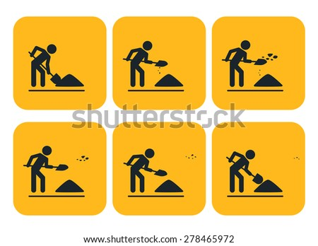 Digging man. Vector illustration of animation throwing the ground ahead - stock vector
