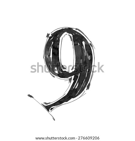 digit 9. Alphabet symbol - grunge hand draw paint / vector illustration - stock vector