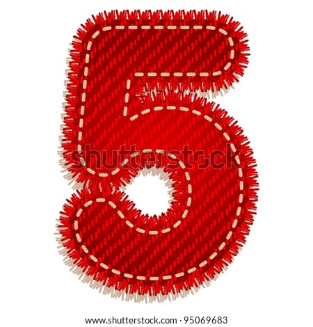 Digit five from red textile alphabet - stock vector