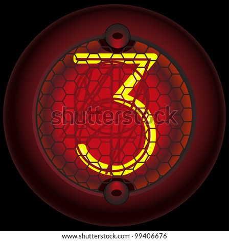 Digit 3 (three). Nixie tube indicator of the numbers of retro style isolated on black - stock vector