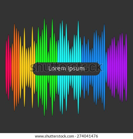 Digital abstract equalizer. Multicolored waveform background. Template Flat design Vector illustration - stock vector