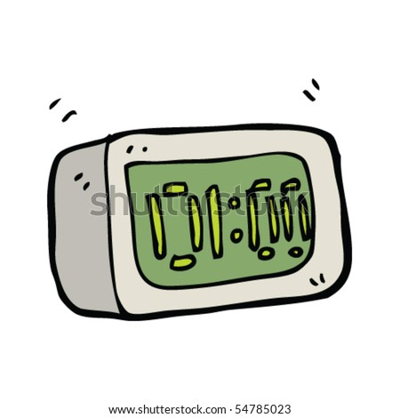 digital alarm clock - stock vector