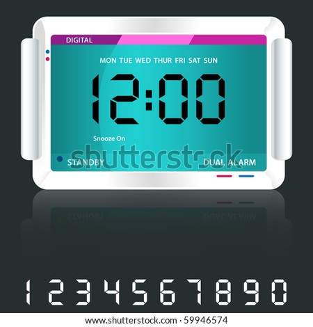 Digital alarm clock isolated on dark grey with reflection and spare digital numbers. Raster also available. - stock vector