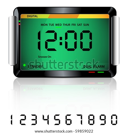 Digital alarm clock isolated on white with reflection and spare digital numbers. Raster also available. - stock vector