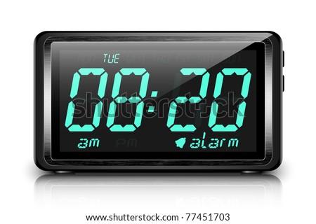 Digital alarm clock. Vector - stock vector