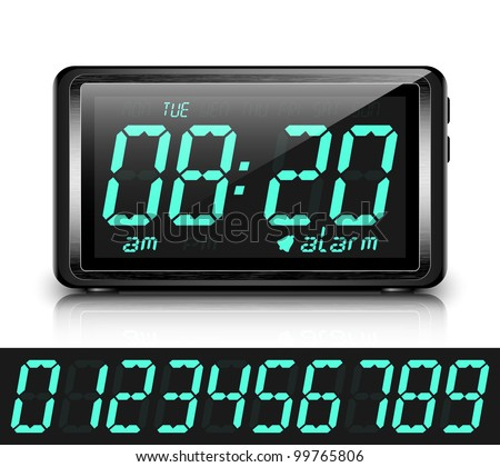 Digital alarm clock. Vector Illustration - stock vector