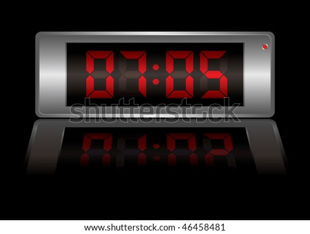 digital alarm clock with time to wake up and light reflection - stock vector