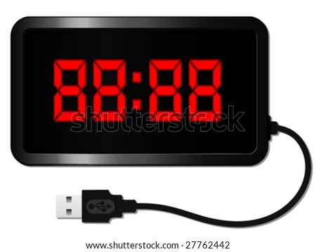 Digital alarm clock with USB cable - vector - stock vector