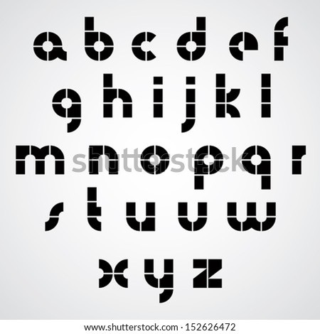 Digital alphabet, modern style vector font. Black and white. - stock vector