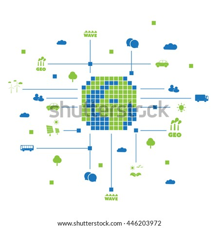 Digital and Green Eco Friendly World - Global Connections, Public Network Infrastructure - Design Concept with Icons - Vector Illustration, Technology Template - stock vector