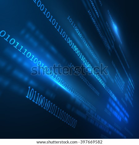 DIgital background in perspective. Vector eps10. Can be used for technology and business presentations. Binary code - stock vector