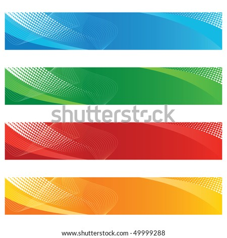 Digital banners in halftone and curved lines - stock vector