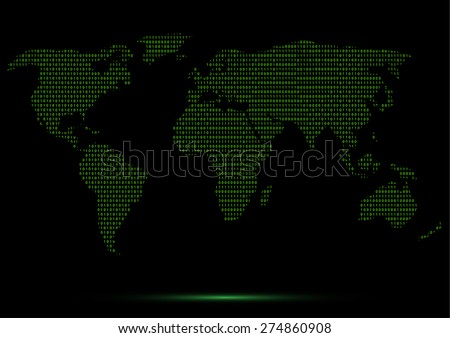 Digital binary world map green code vectores en stock 274860908 digital binary world map green code lines vector illustration gumiabroncs Image collections