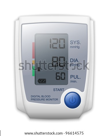 Digital blood pressure monitor, front view. Vector Illustration - stock vector