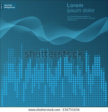 Digital blue equalizer background. - stock vector