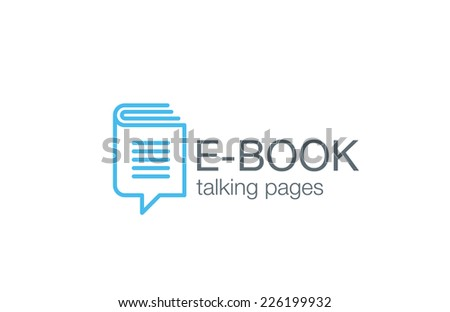 Digital Book Logo design vector template.  Electronic Library Education Logotype. Chat information icon line art. - stock vector
