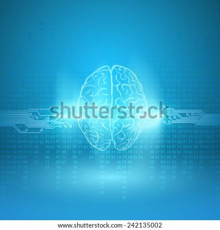 Digital brain on blue background. EPS10 vector. - stock vector