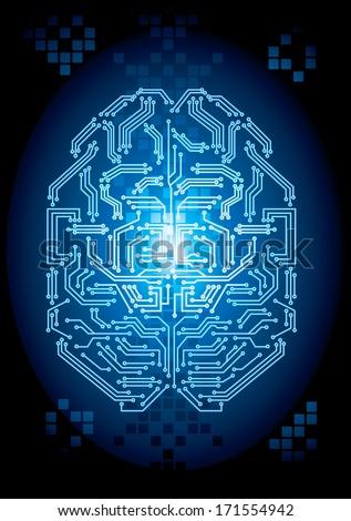Digital Brain - Vector file - stock vector